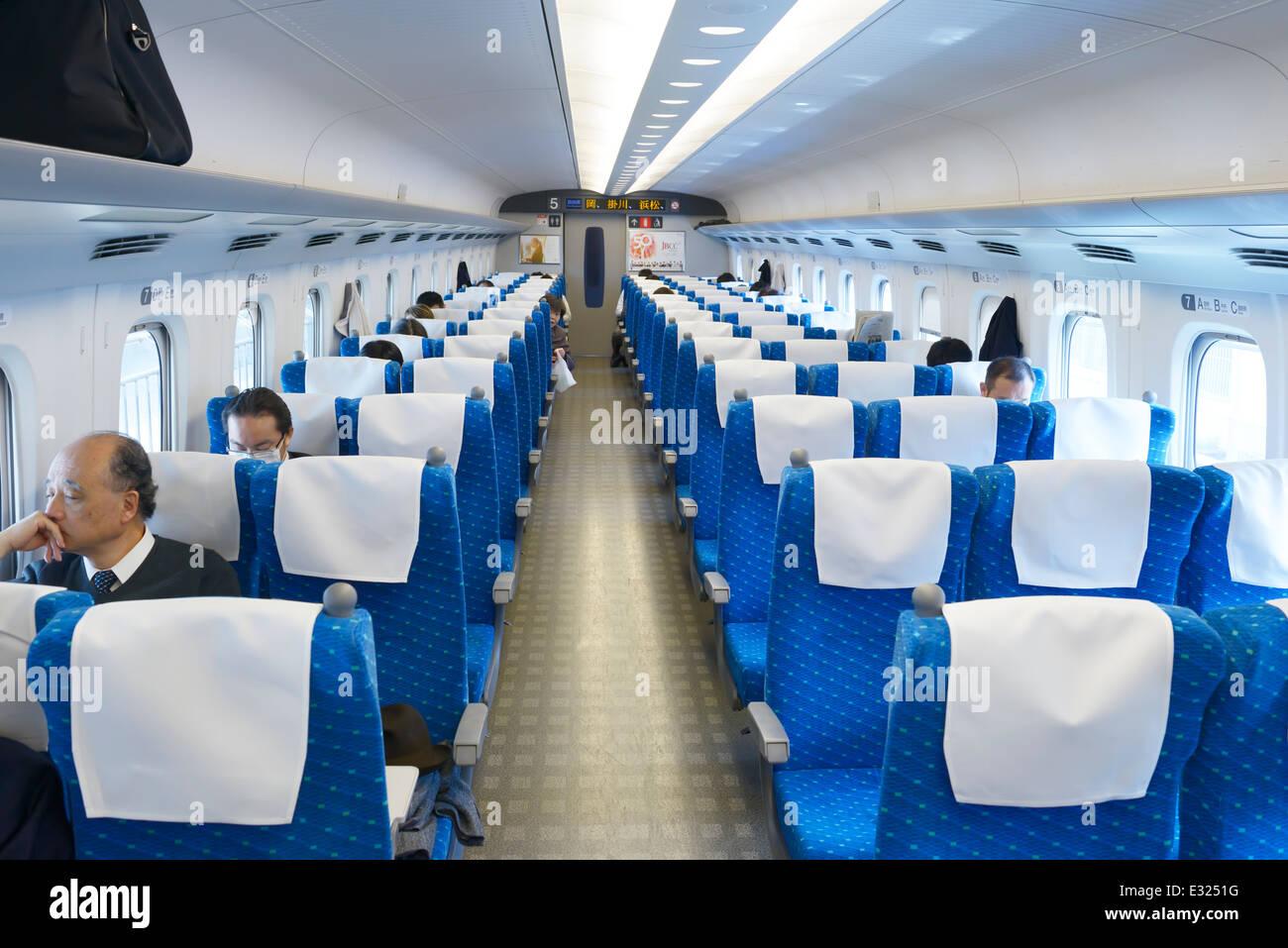 Shinkansen Bullet Train Interior Japan Stock Photo