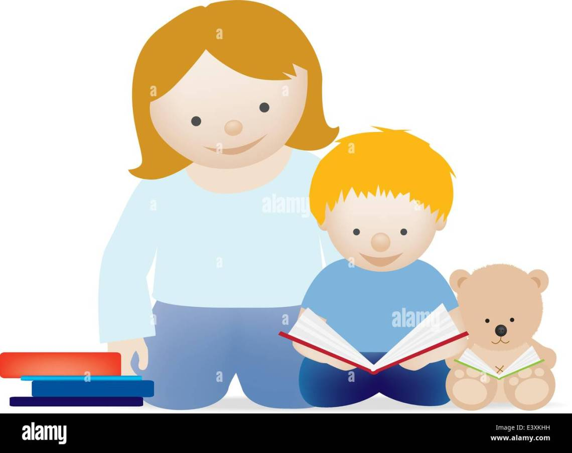 Download A vector illustration of a mum and her little boy reading ...
