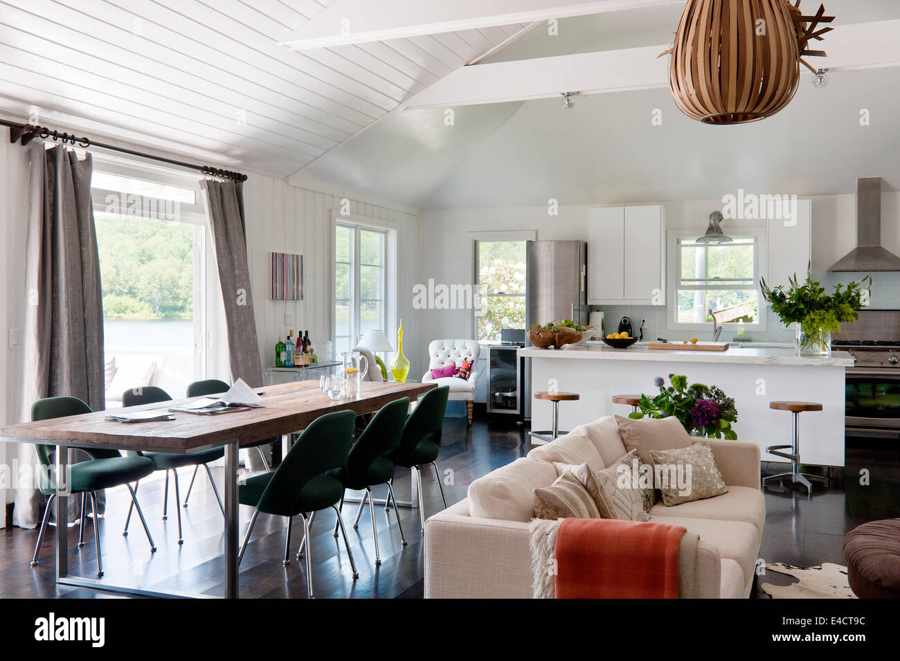 Open Plan White Living Space With Ikea Kitchen Units