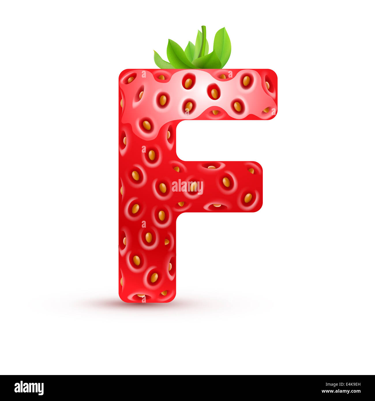 Letter F In Strawberry Style With Green Leaves Stock Photo