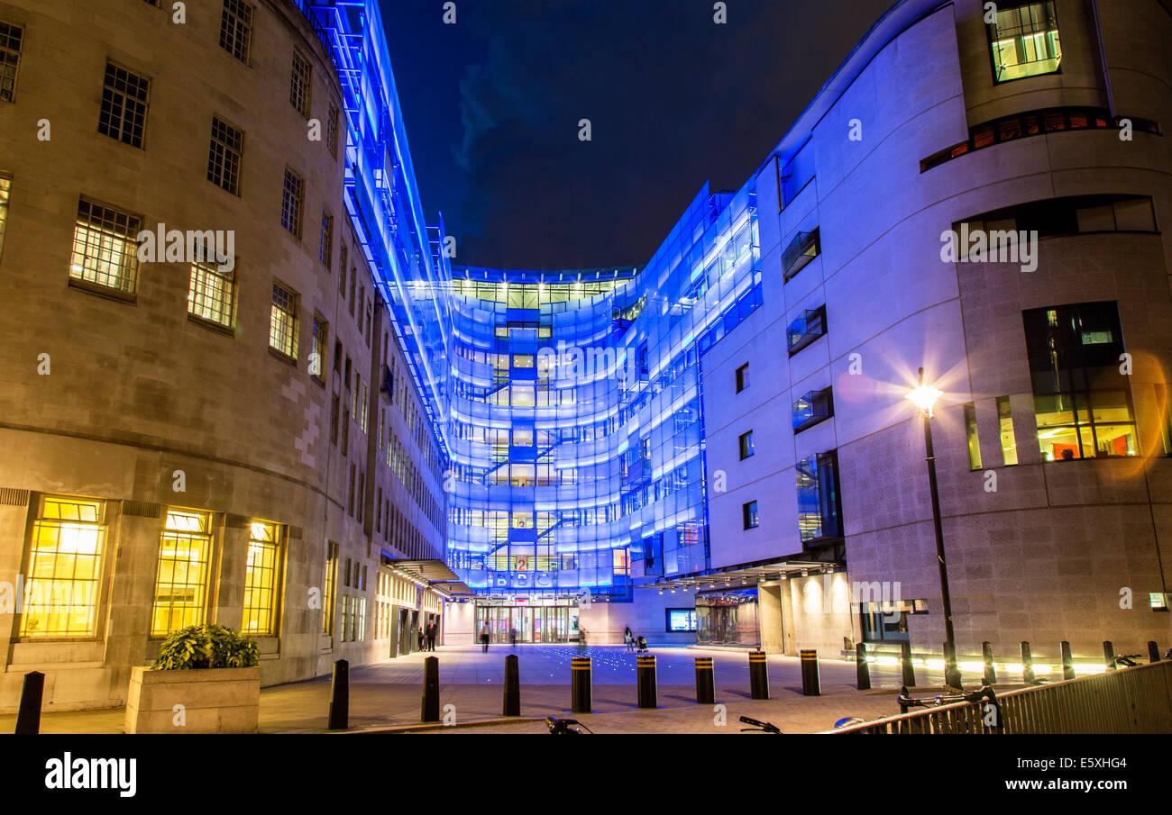 Bbc Radio Langham Place Regent Street Night London Uk