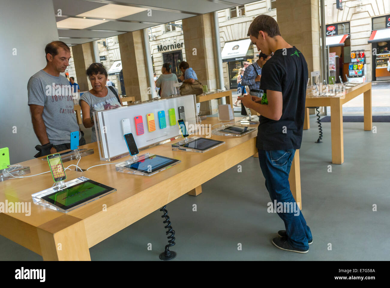 Bordeaux  France  People Shopping  inside Apple Store  Iphones     Bordeaux  France  People Shopping  inside Apple Store  Iphones  Ipads on  Display
