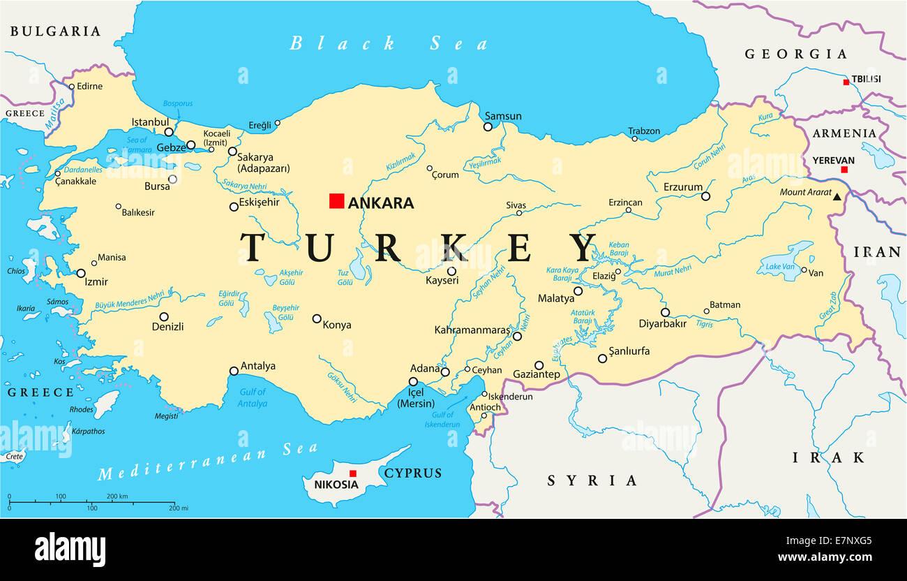 Turkey Political Map With Capital Ankara National Borders
