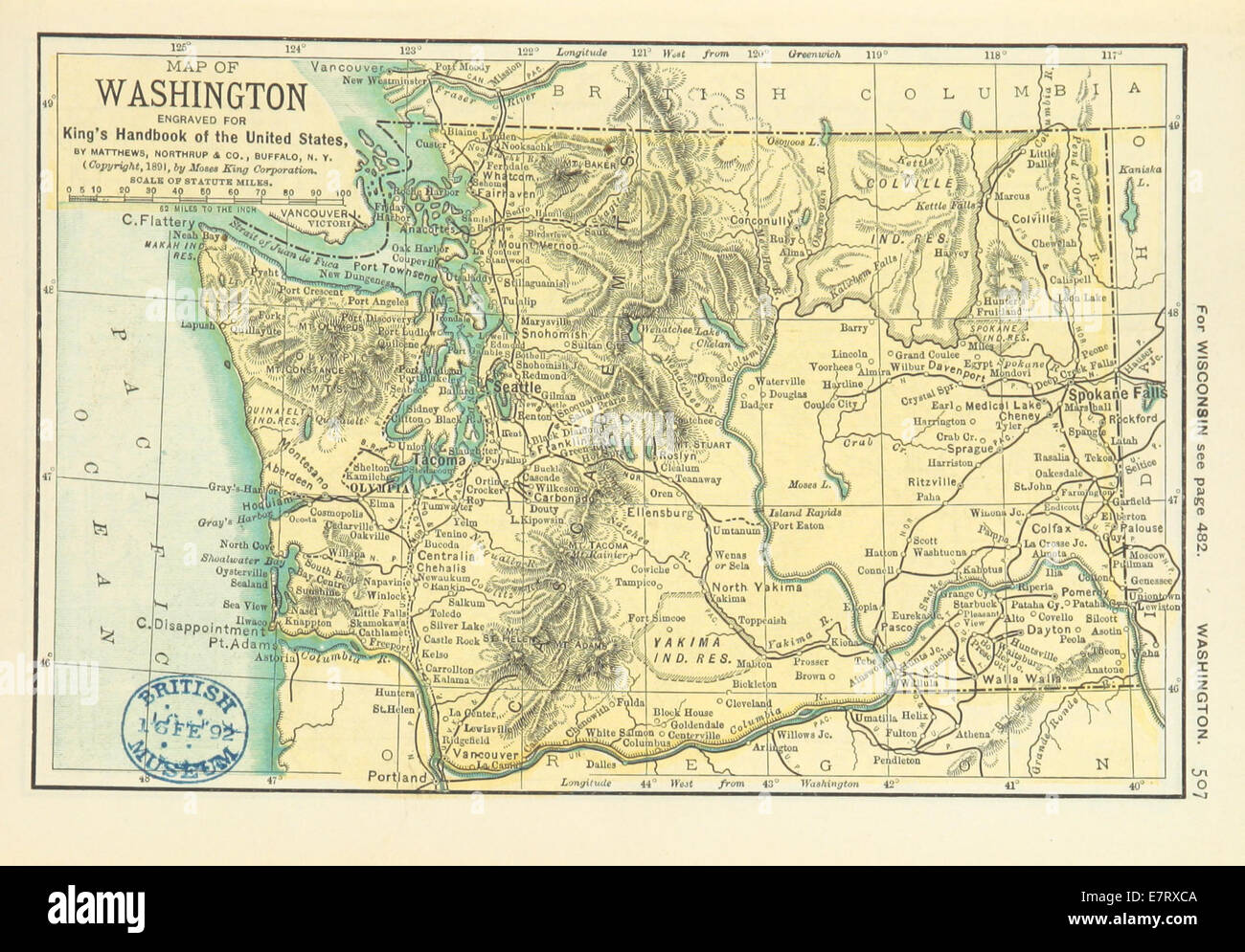 Map Of Washington State Stock Photos   Map Of Washington State Stock     US MAPS 1891  p509   MAP OF WASHINGTON  STATE    Stock