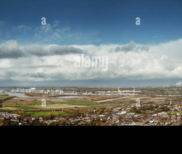 Panoramic View From Frodsham Hill Mersey View Cheshire Overlooking The Mersey Estuary Towards Liverpool And Runcorn Marsh Land