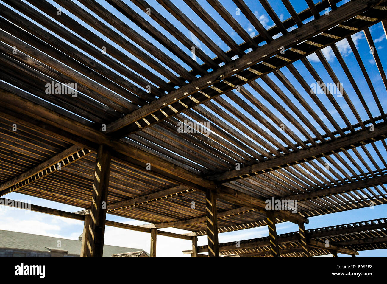 https www alamy com stock photo large wooden slat roof over a patio area with sunlight and blue sky 74550982 html