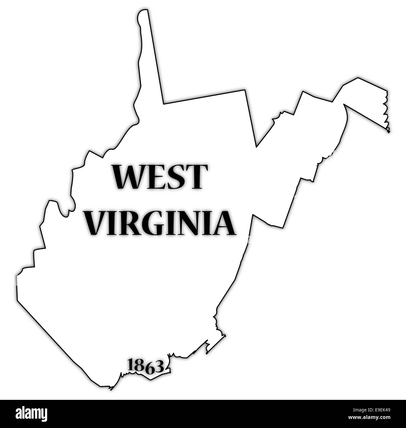 A West Virginia State Outline With The Date Of Statehood