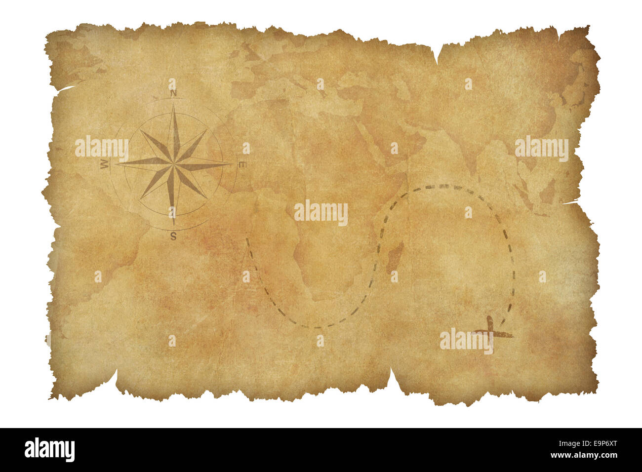 Pirates Parchment Treasure Map Isolated With Clipping