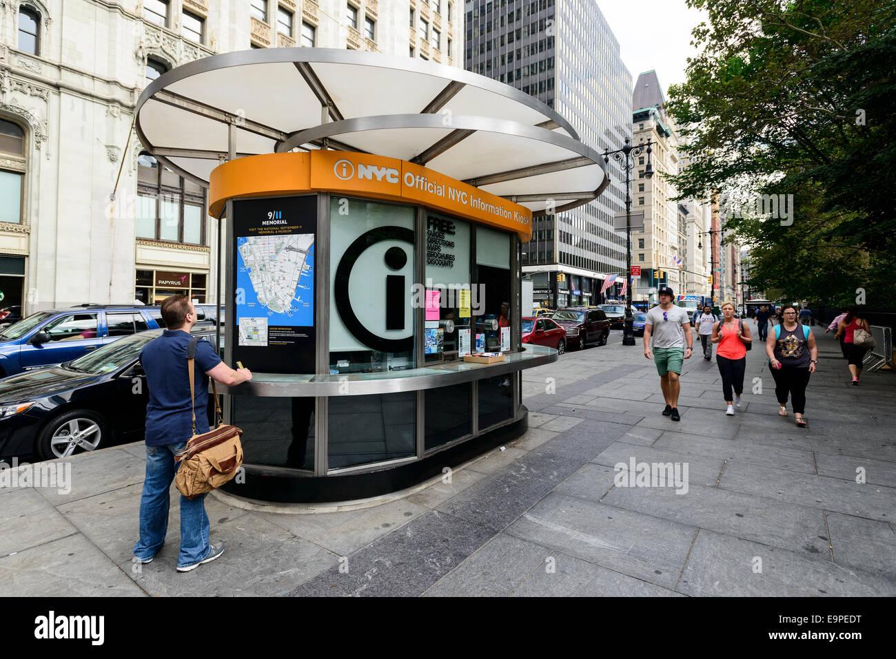 a tourist information kiosk in new york city new york usa
