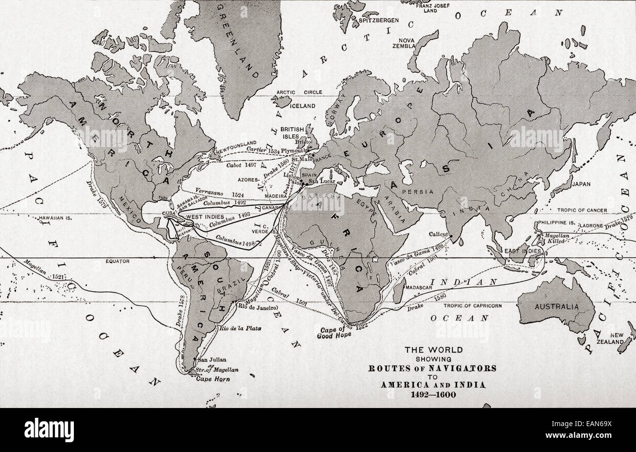Map Of The World Showing The Routes Of Navigators To America And Stock Photo Alamy