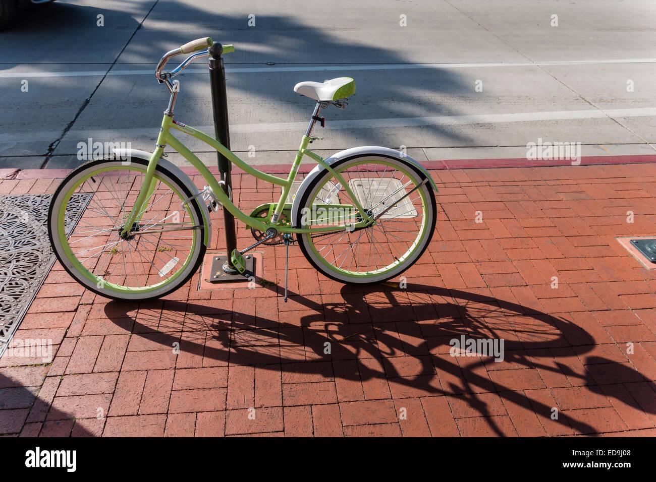 https www alamy com stock photo a beach cruiser bicycle at a bike rack on a brick sidewalk on state 77043688 html