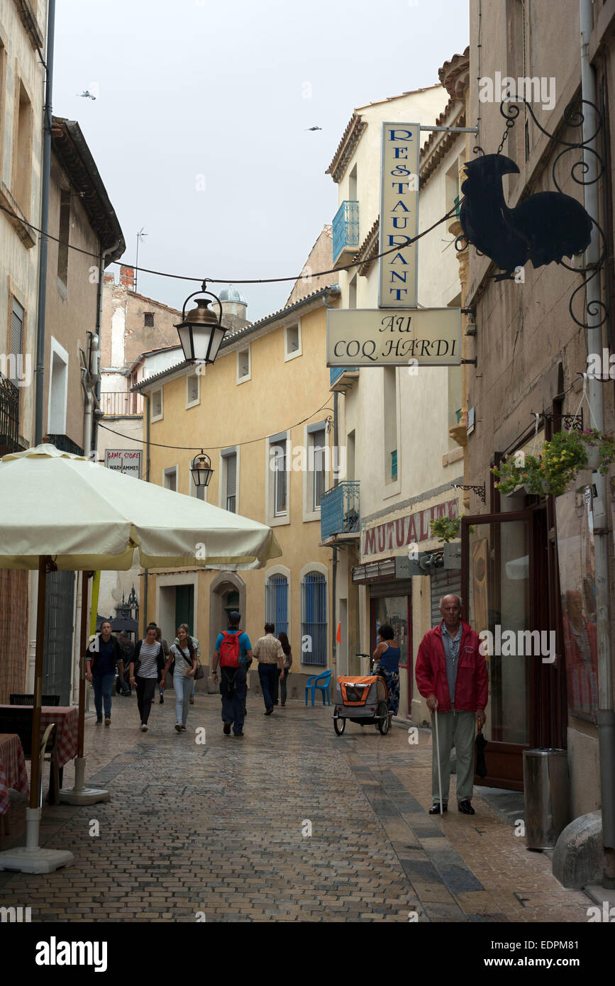 https www alamy com stock photo pedestrian shopping street in old city central narbonne south of france 77330849 html