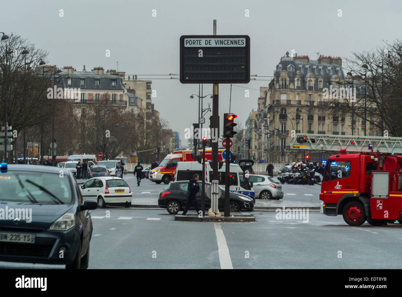 Paris  France  Views  Porte de Vincennes  Street Scene  After Stock     Views  Porte de Vincennes  Street Scene  After Terrorist Shooting  at a  local kosher supermarket  Sign at Roundabout
