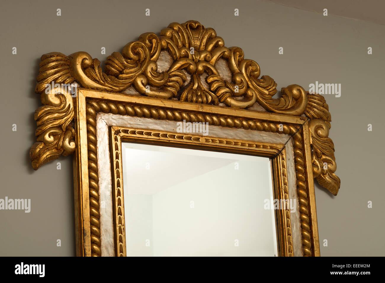 Gilded Mahogany Wall Mirror Frame From Honduras. Silver