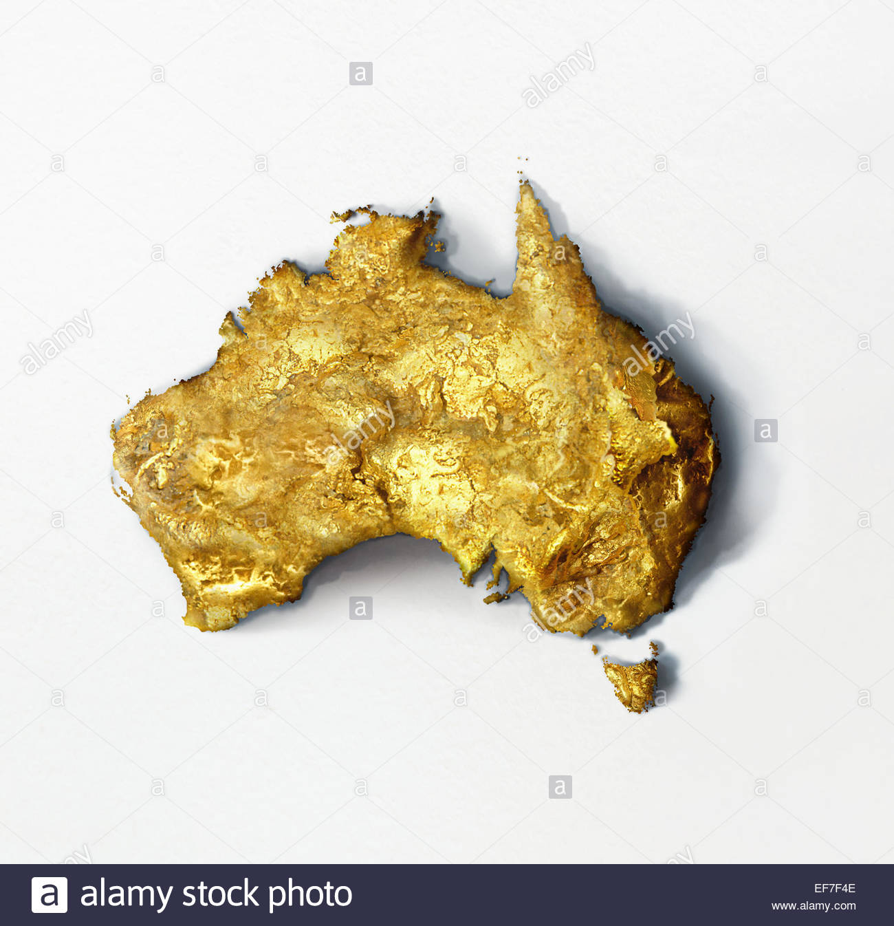 Gold Nugget In Shape Of Australia Stock Photo