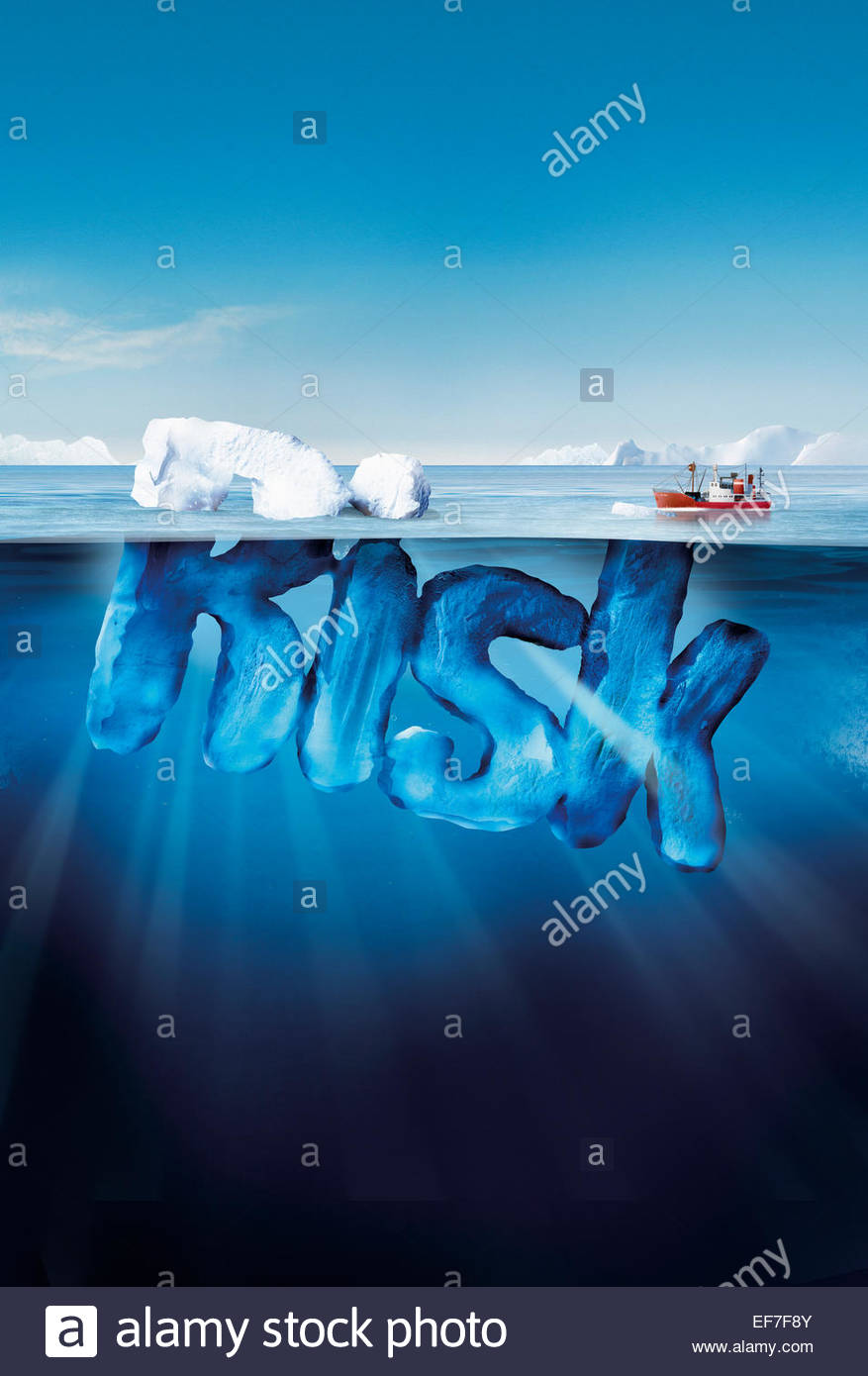 Boat Approaching Dangerous Risk Iceberg Stock Photo