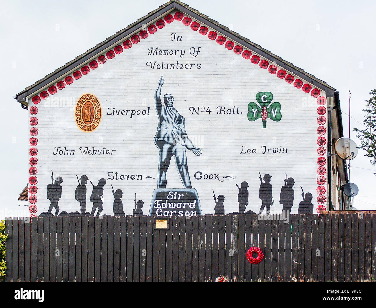 Mural On A Gable Wall In Belfast Commemorating UVF
