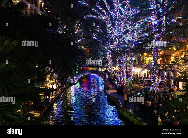 san antonio riverwalk christmas lights stock photos