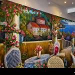 Italian Restaurant Interior With Feature Colourful Wall Mural Of Stock Photo Alamy