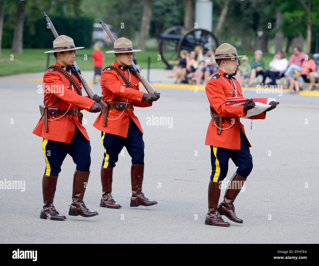 Mounties Carry The Canadian Flag Royal Canadian Mounted