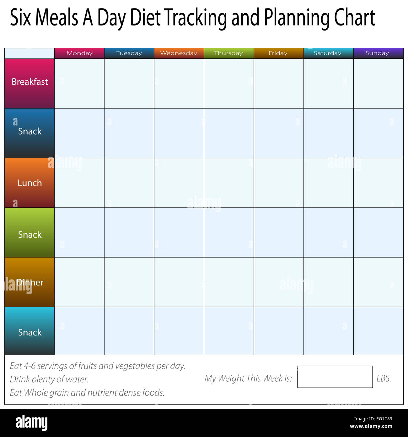 Weekly Meal Plan Stock Photos Amp Weekly Meal Plan Stock