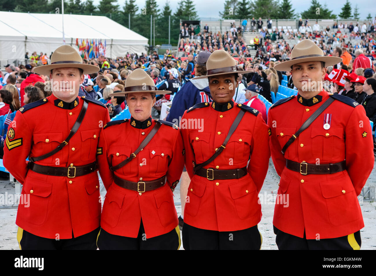 Officers From The Royal Canadian Mounted Police Stock