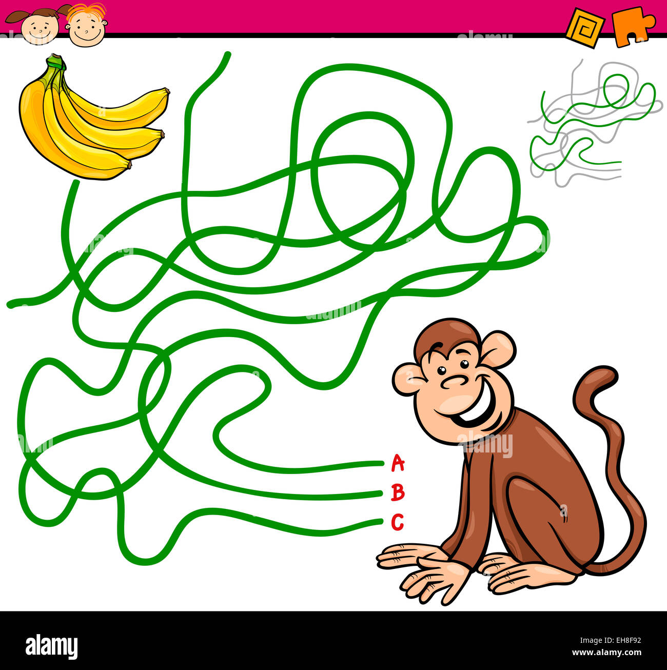 Cartoon Illustration Of Education Path Or Maze Game For