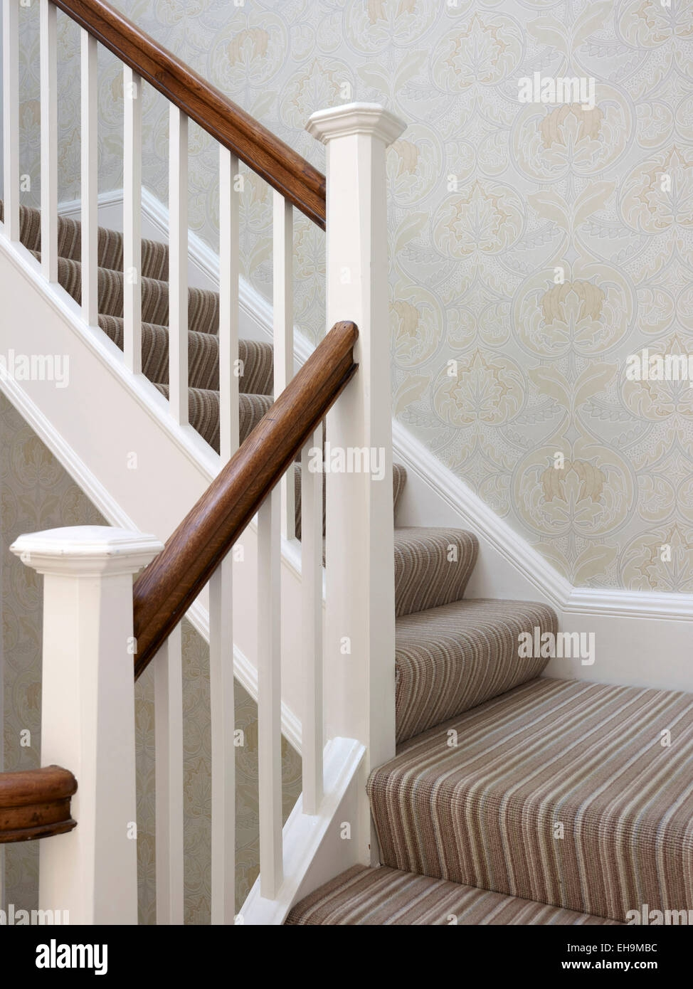 Brown And White Banister On Staircase Residential House   White And Grey Banister   Newel Post   Narrow Awkward Staircase   Stair Railing   Entryway   Wall
