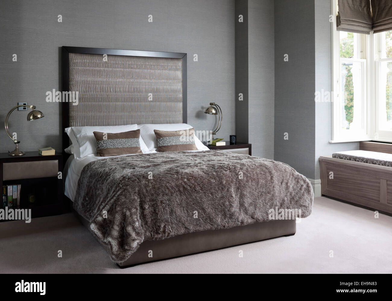Double Bed With Matching Side Tables And Lamps With Oversized Stock Photo Royalty Free Image