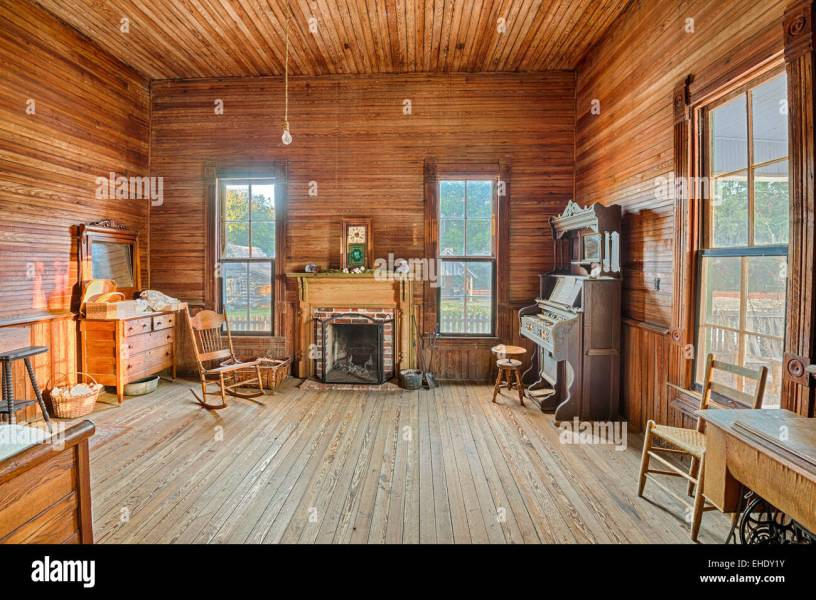 Interior of an old farmhouse in the historic landmark park near     Interior of an old farmhouse in the historic landmark park near Dothan   Alabama