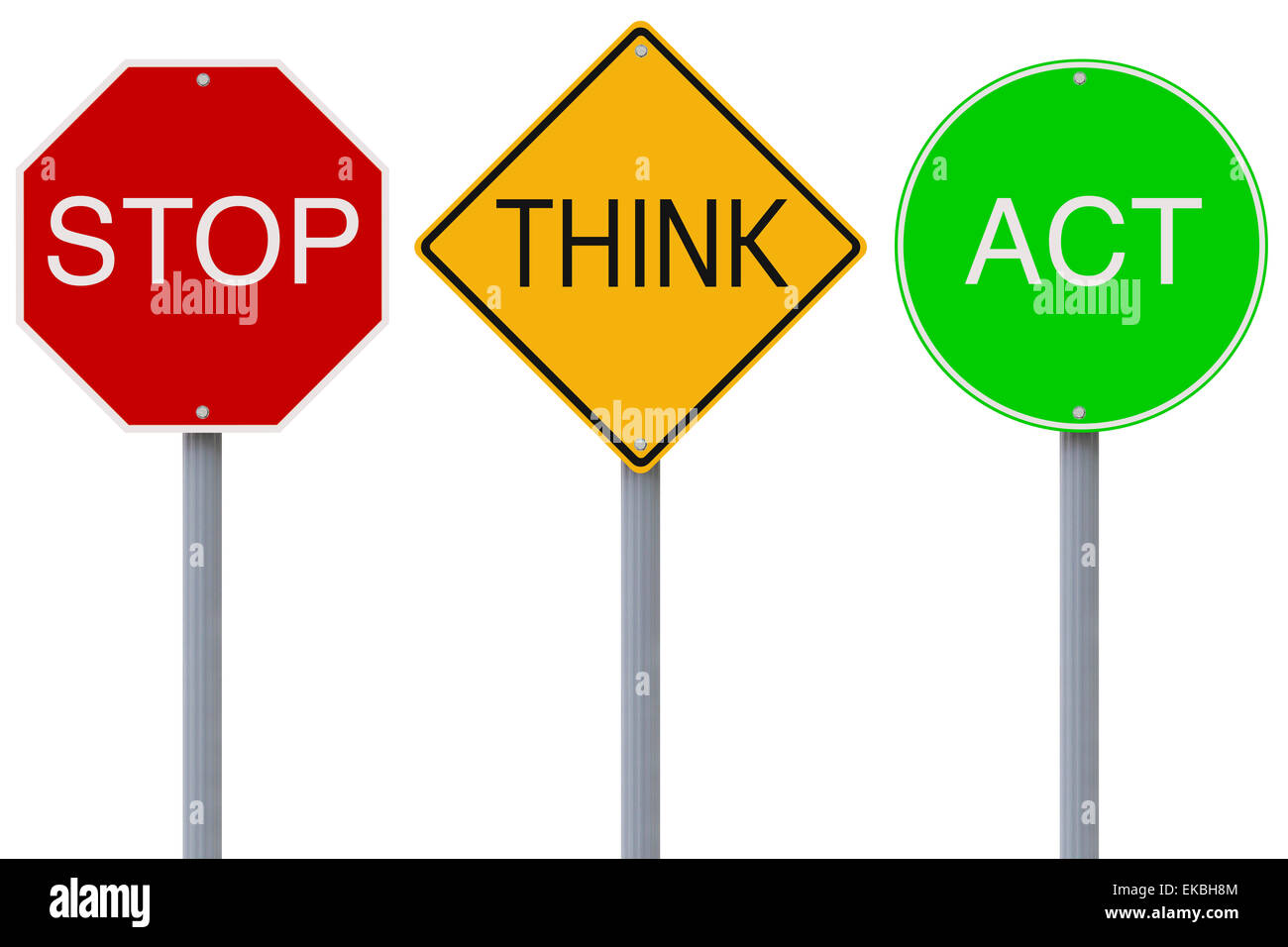Stop Think Act Stock Photo