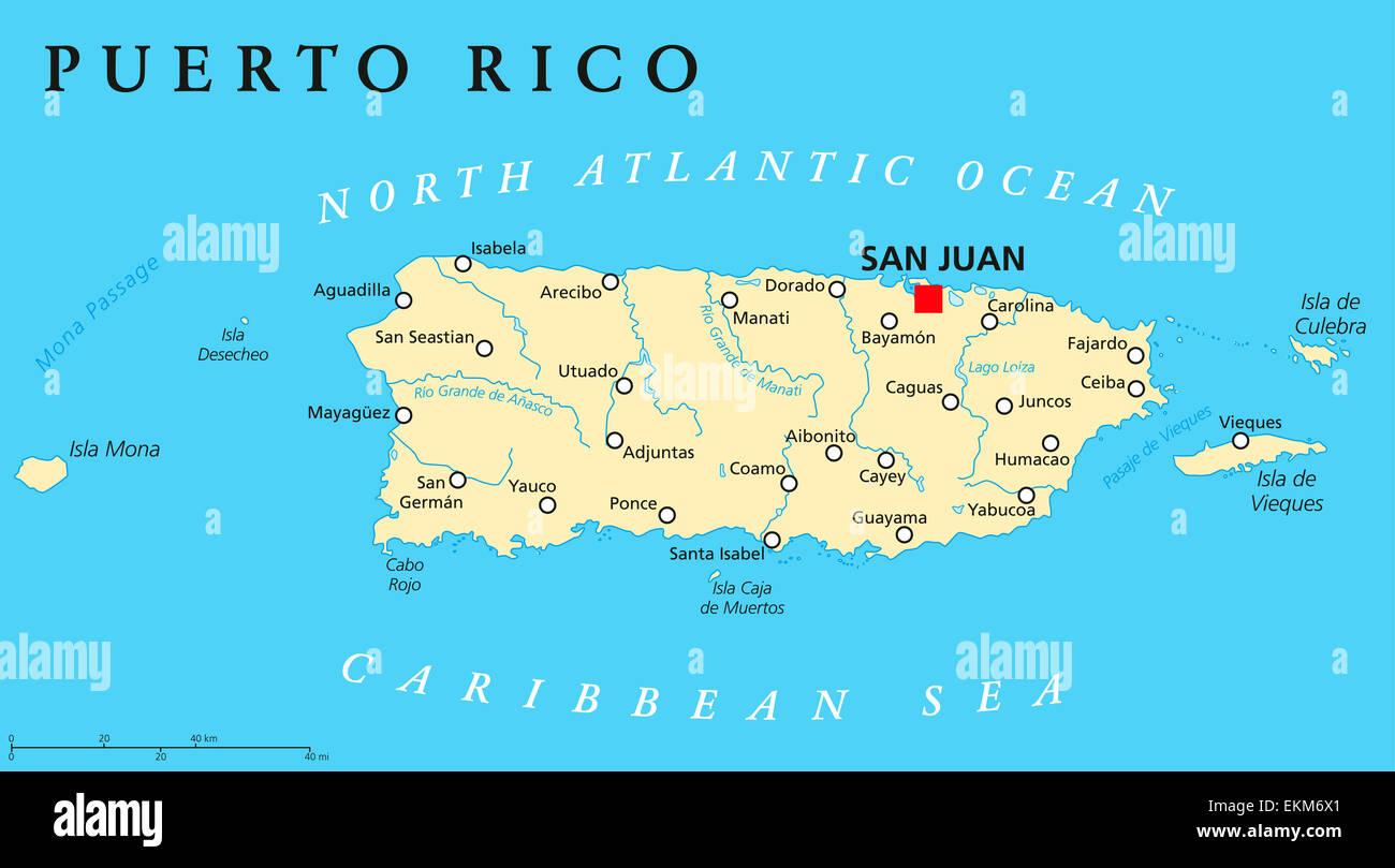 Puerto Rico Political Map Stock Photo
