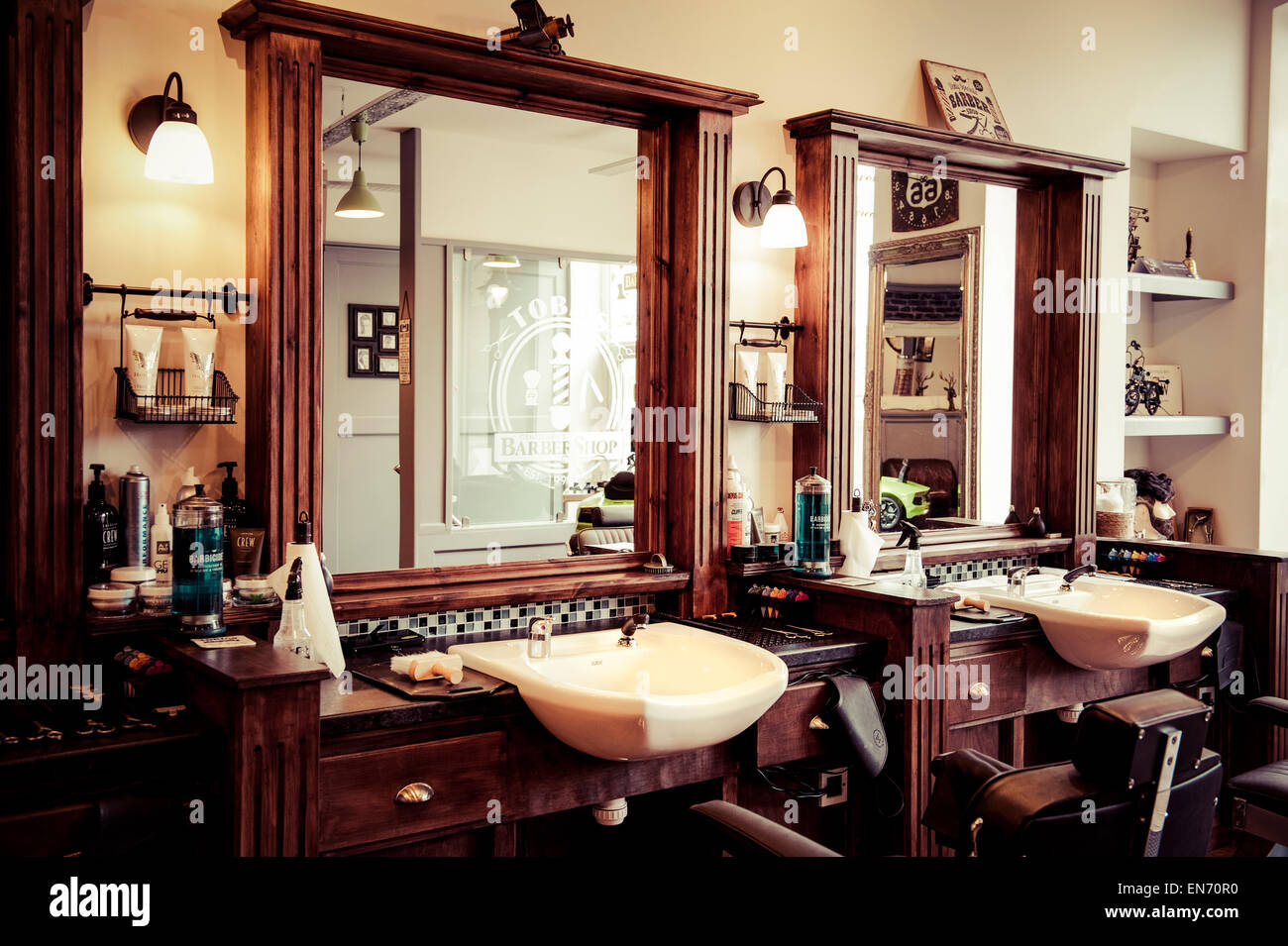 Mens Barber Shop Retro Styled Interior Design Stock