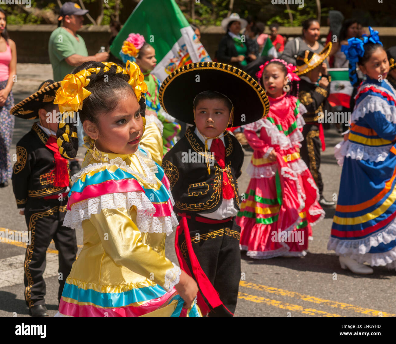 Folk Dancers In The Cinco De Mayo Parade In New York On