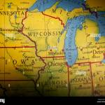 Old Us Map Of Midwestern States Stock Photo Alamy