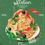 Italian Pasta Spaghetti With Sauce Restaurant Menu Poster In Stock Vector Image Art Alamy