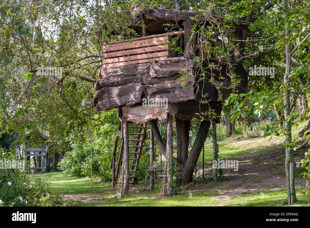 Italy A Garden Tree House Built For Children Stock Photo Alamy