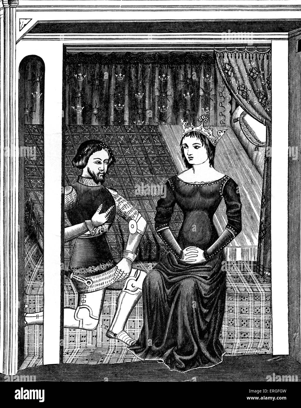 Lancelot And Guinevere After Miniature In 11th Century