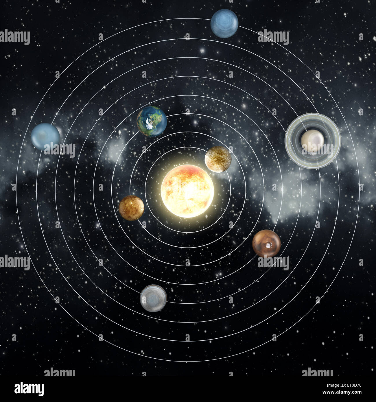 Solar System Diagram In The Space Stock Photo