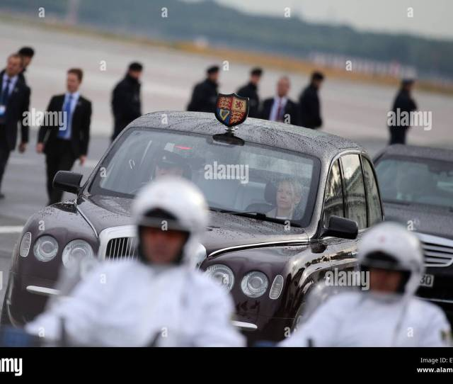 Berlin Germany Rd June  Police Officers Escort The Car Of British Queen Elizabeth Ii And Her Husband Prince Philip Duke Of Edinburgh