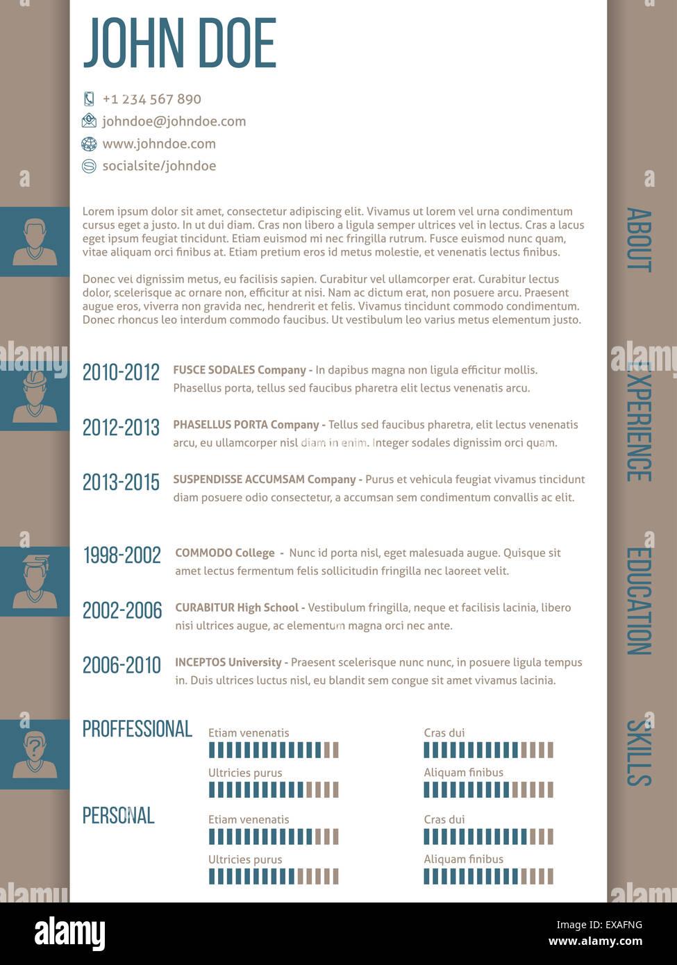 modern curriculum vitae cv resume template with modern curriculum