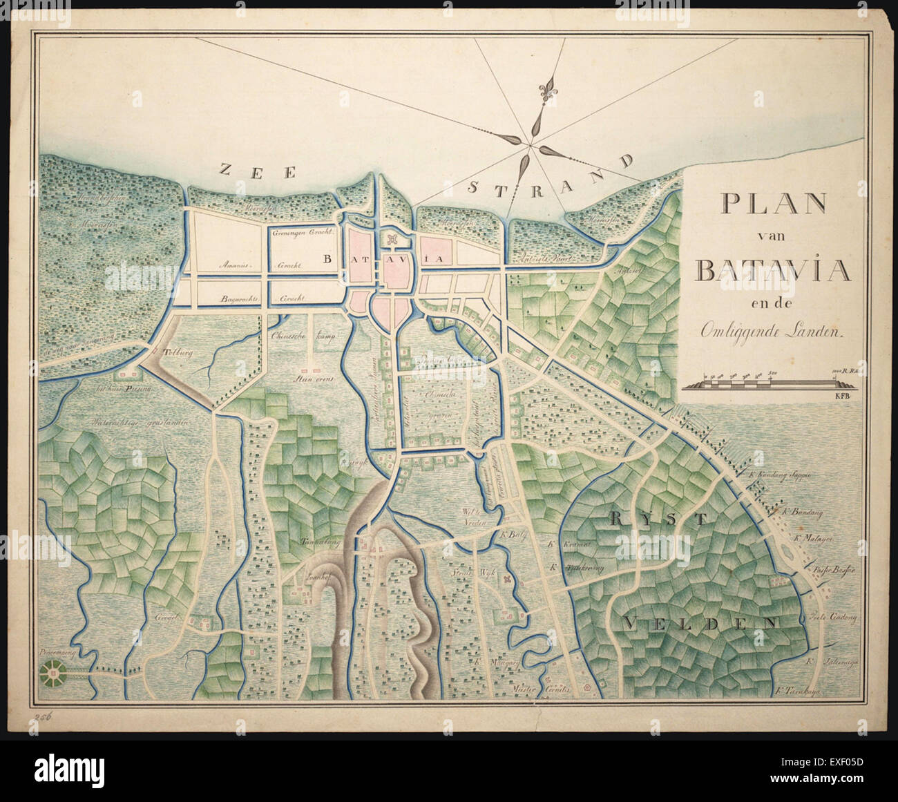Old Map 1800 Stock Photos   Old Map 1800 Stock Images   Alamy Plan van Batavia en de omliggende landen  1800 1850 Map   Stock Image