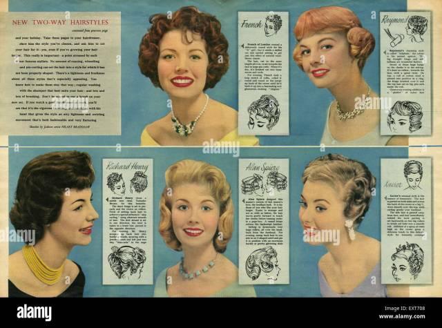 1950s uk hairstyles magazine plate stock photo: 85354872 - alamy