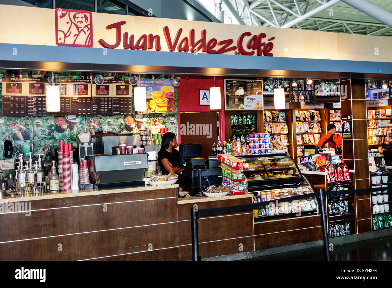 New York Queens John F  Kennedy International Airport JFK inside     New York Queens John F  Kennedy International Airport JFK inside interior  terminal concourse gate area Juan Valdez Cafe counter coffee