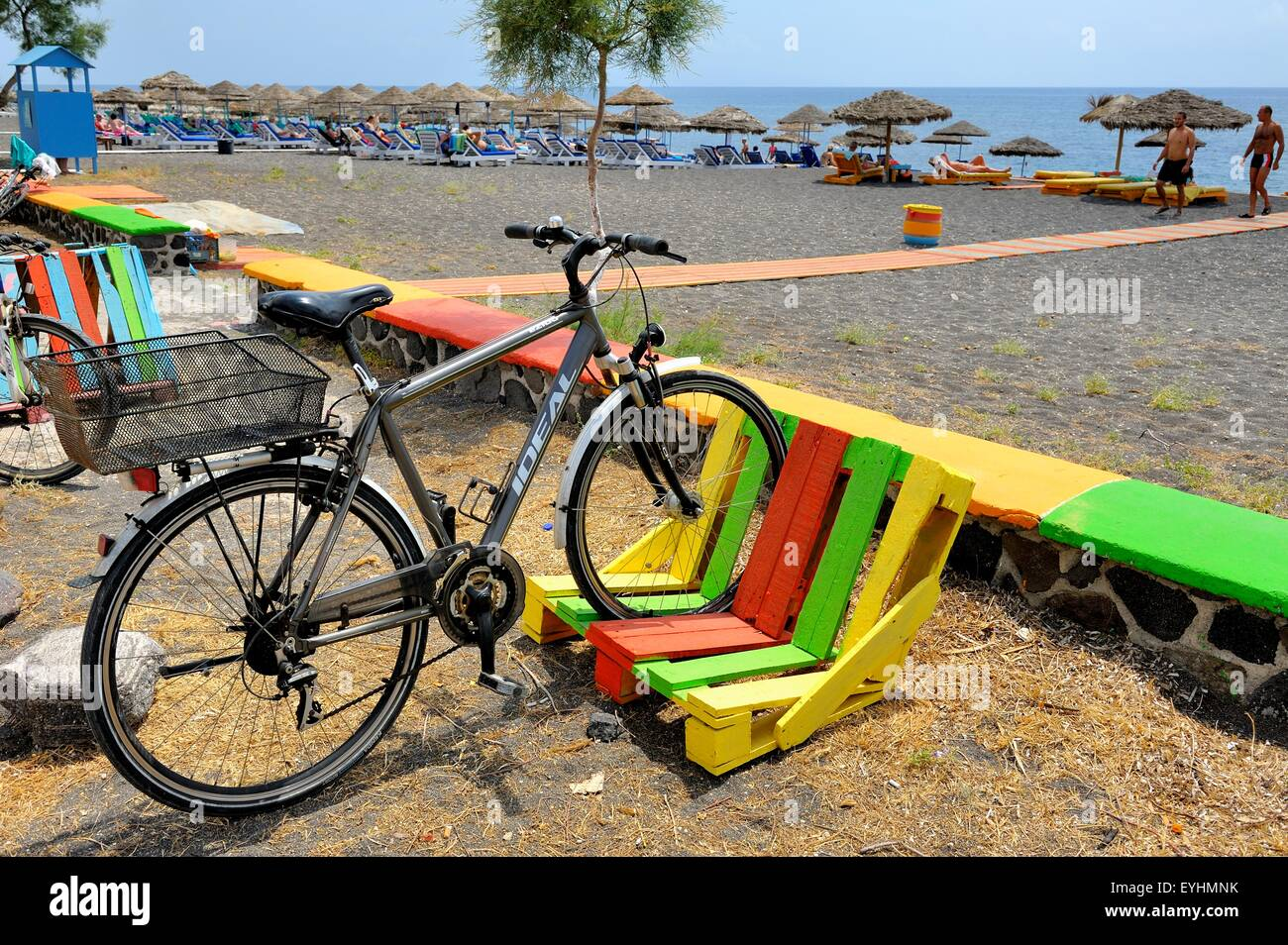 https www alamy com stock photo a colorful bike rack made out of a wooden pallet on perissa beach 85826655 html