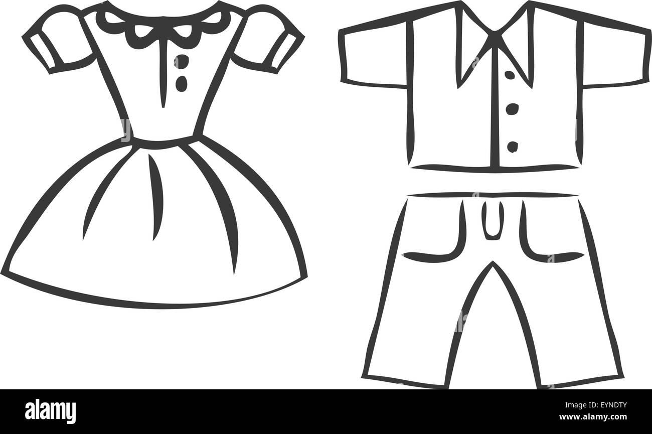 Vector Set Of Cartoon Clothes. Dresses, Shirts And Pants