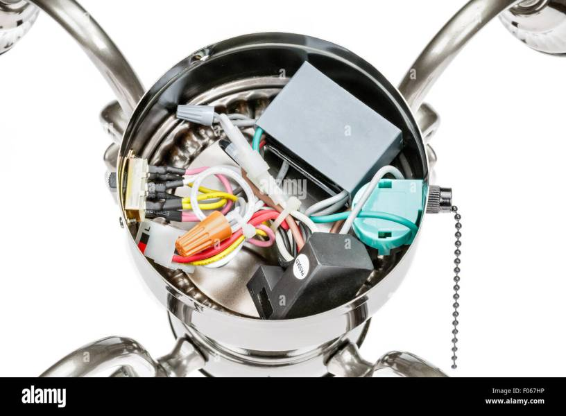 Internal wiring of a ceiling fan light fixture Stock Photo  86189538     Internal wiring of a ceiling fan light fixture