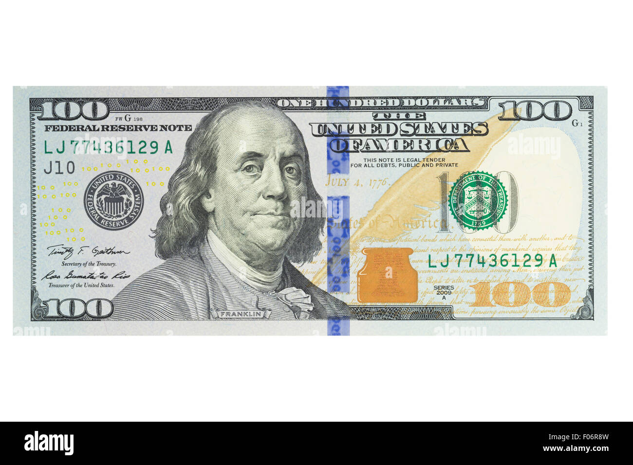 American One Hundred Us Dollar Note On A White Background