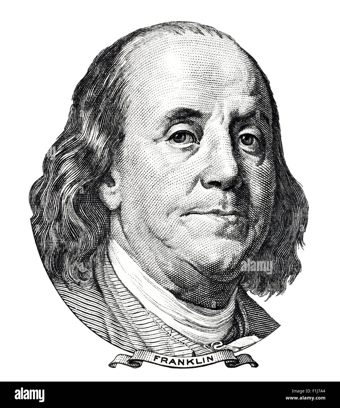 Benjamin Franklin Portrait Isolated On White Background