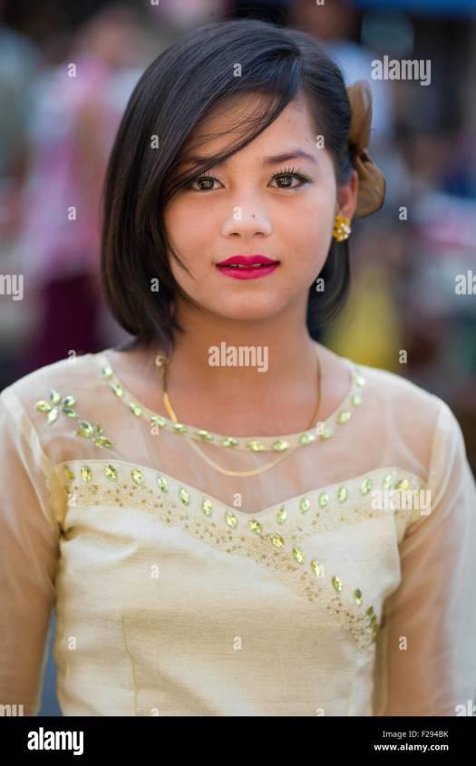 Beautiful Young Burmese Woman High Resolution Stock ...
